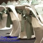 White Chair Cover with Celedon Sash
