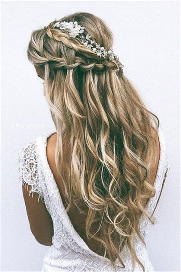Braid Wavy Hair Long Hair Wedding Tiara Wedding Hairstyles