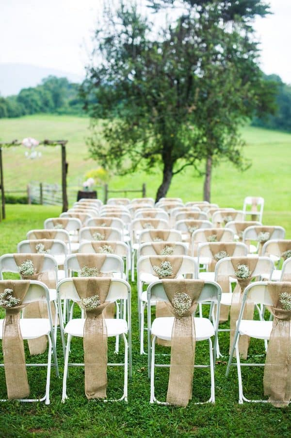Rustic burlap wedding ceremony chair decor front range event rental rustic burlap wedding ceremony chair decor junglespirit