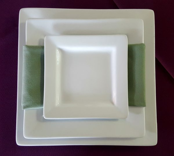 Square White Plates with Napkin