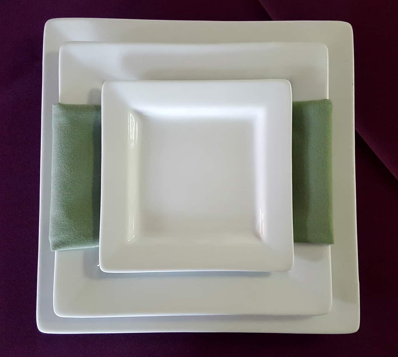 Square White Plates with Napkin