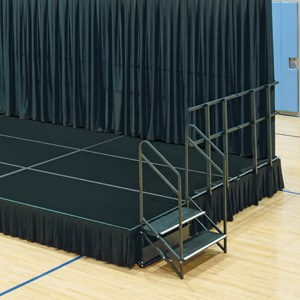 black stage and stage skirt front range event rental